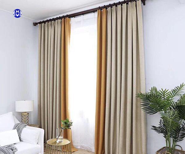 Rèm vải sử dụng thanh treo rèm cửa bằng gỗ
