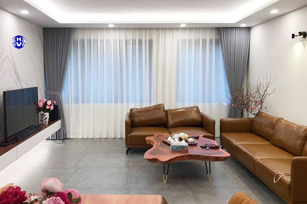 Rèm vải tự động phòng khách hiện đại