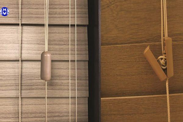rèm sáo gỗ sử dụng dây kéo tay lên xuống