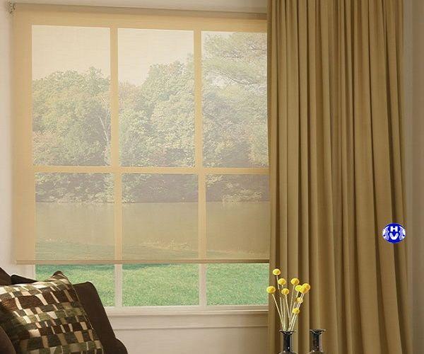 Màn sáo cuốn lưới trang trí kết hợp rèm vải cửa sổ