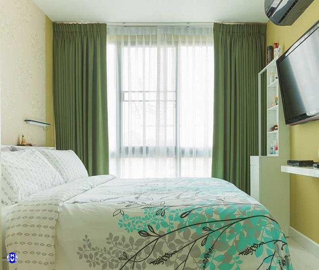 Mẫu rèm vải xanh lá biểu trưng của cỏ cây tự nhiên