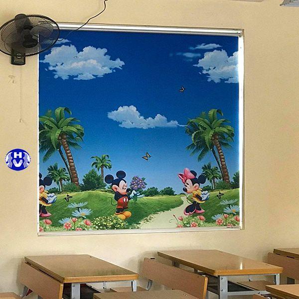 Rèm cuốn in tranh bằng nhựa lớp học