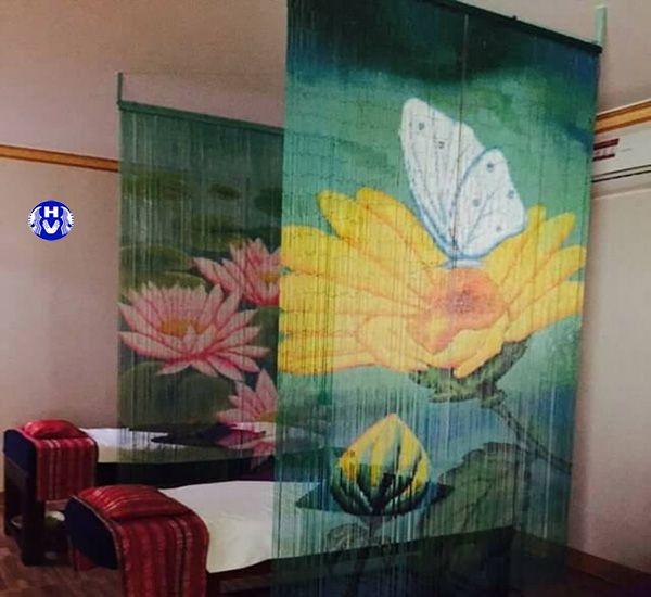Tấm rèm sáo trúc nghệ thuật trang trí không gian spa