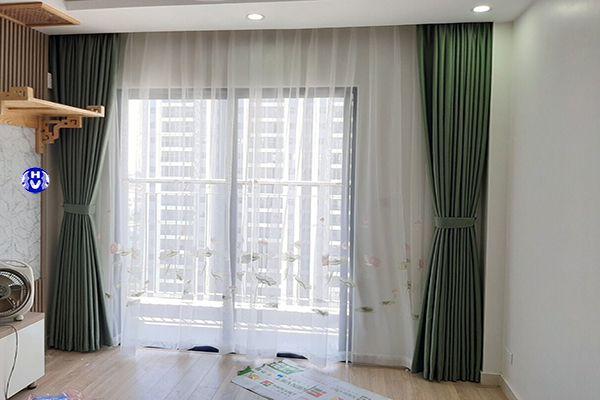 rèm cửa 2 lớp phòng khách chung cư hiện đại