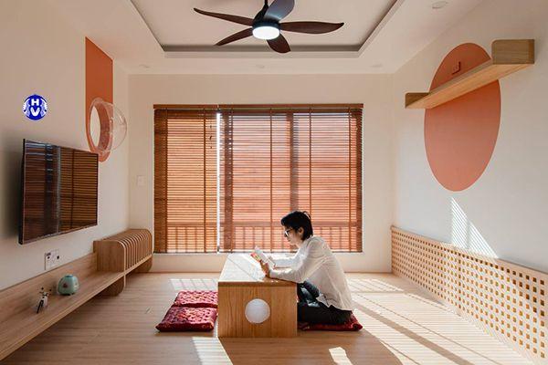 rèm gỗ tự cuốn trong không gian sang trọng