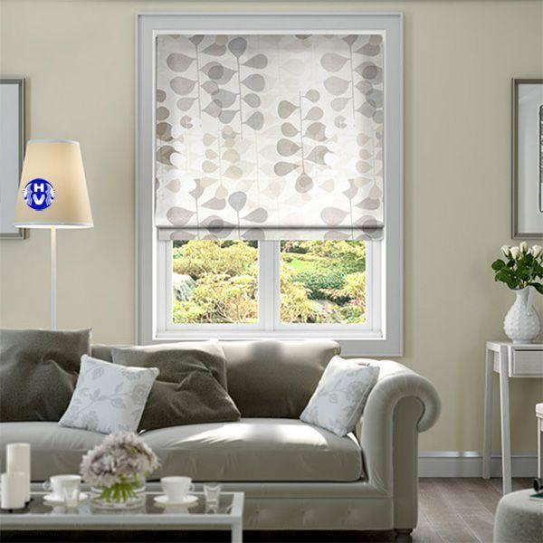 rèm vải roman trang trí cửa sổ phòng khách