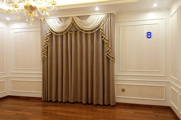 Mẫu rèm vải một màu cho phòng khách nội thất Châu Âu