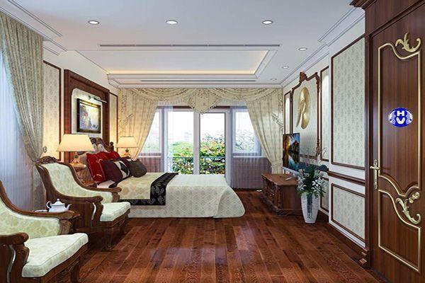 Phòng ngủ tân cổ điển không thể thiếu rèm vải buông che nắng