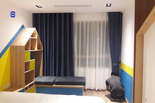 Rèm vải màu xanh cho phòng ngủ các bé