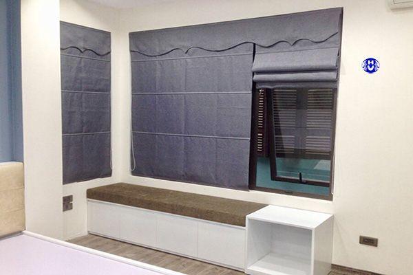 Rèm vải roman hai lớp chắn nắng hiệu quả phòng ngủ