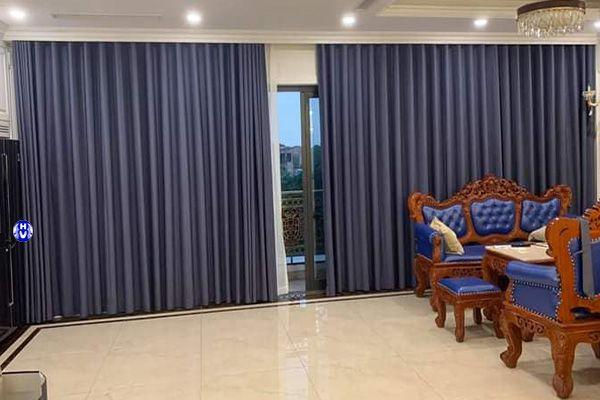 Rèm vải taffeta màu xanh navy