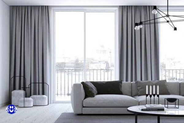 Rèm cửa màu ghi trơn thiết kế theo nội thất hiện đại