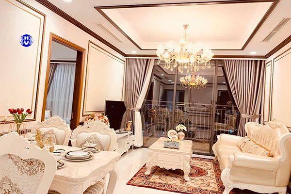 Rèm cửa màu ghi trơn thiết kế theo nội thất tân cổ điển