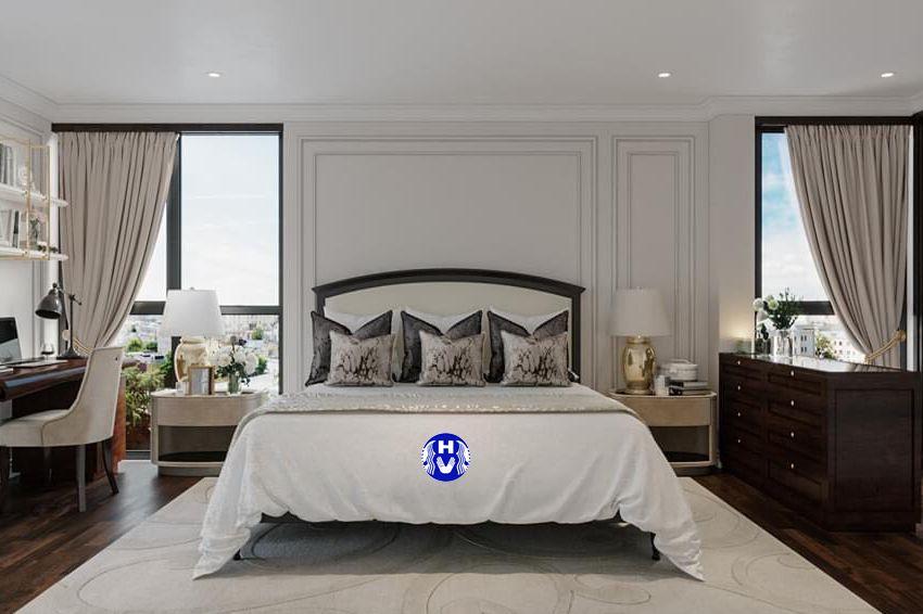Rèm vải 1 lớp màu trắng tinh khiết phòng ngủ