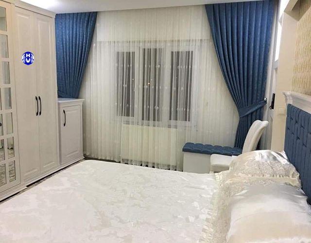 Mẫu rèm cửa màu xanh dương phòng ngủ