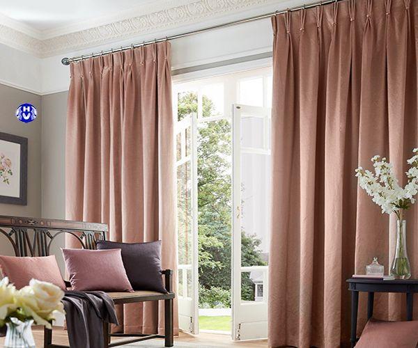 Mẫu rèm vải màu nâu đất phòng khách