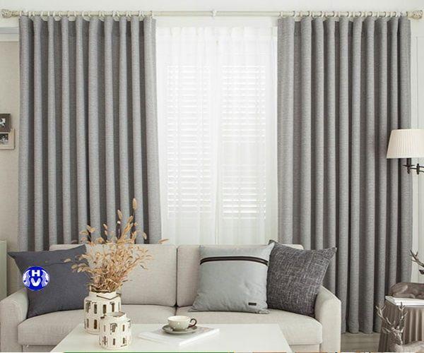 Mẫu rèm vải màu xám 1 lớp cho phòng khách