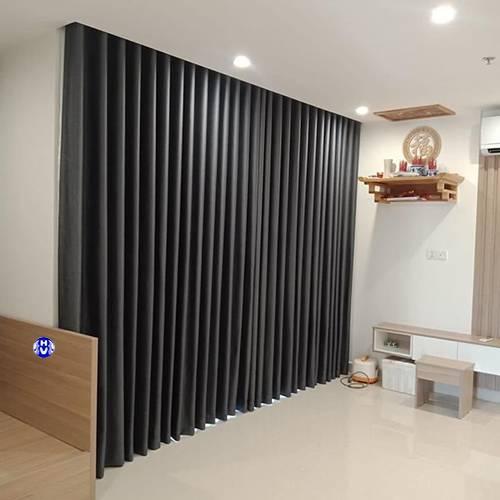 rèm cửa màu xám tối giản phòng khách