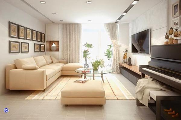 Căn phòng khách với điểm nhấn tấm cửa trang trí