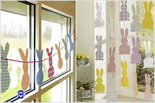 Cắt giấy màu hình thỏ ngộ nghĩnh trang trí cửa sổ
