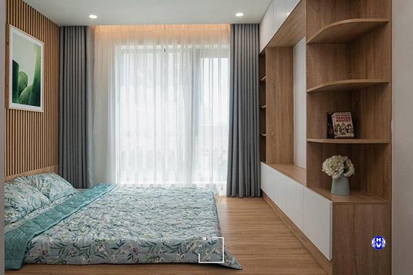 Mẫu rèm cửa sổ trơn một màu tạo cảm giác an nhiên cho phòng ngủ
