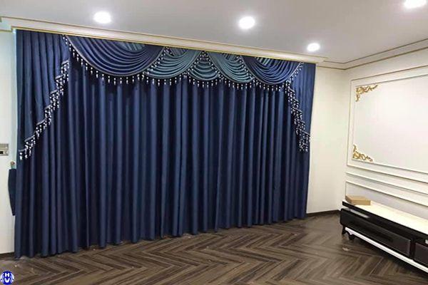 Nội thất rèm vải trang trí màu xanh ấn tượng thanh lịch