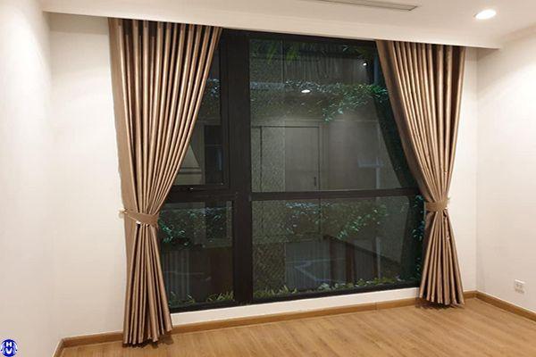 Rèm vải 1 lớp cửa sổ may sẵn màu nâu cho phòng ngủ