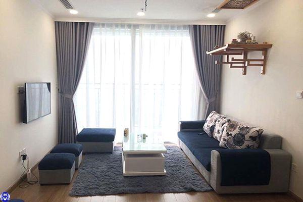 Rèm vải 2 lớp cửa sổ màu ghi sáng ngăn lạnh điều hòa phòng khách